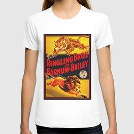 Vintage Circus Poster - Tiger & Lion T-shirt