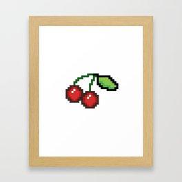 Pixel art cherries Framed Art Print