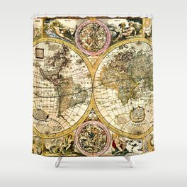 Gorgeous Old World Map Art from 15th Century Shower Curtain