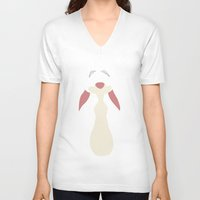 winnie the pooh V-neck T-shirts featuring Winnie the Pooh - Rabbit by TracingHorses