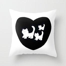 3 Fluffy White Kitties Throw Pillow