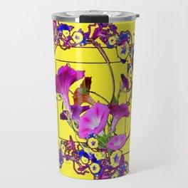 Decorative Blue Yellow Pink Purple Vining Flowers Art Travel Mug
