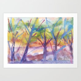 Spring landscape watercolor Art Print