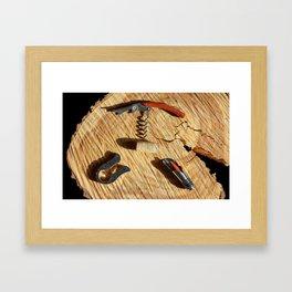 corkscrew with wine corks Framed Art Print