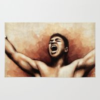 ali gulec Area & Throw Rugs featuring Ali The Greatest by Paul Capon