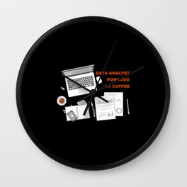 Data Analyst Powered By Coffee Wall Clock