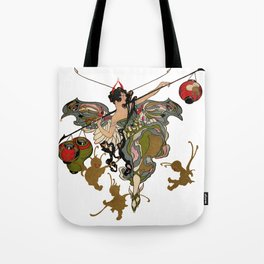 Fairy holds a rod with hanging fancy lanterns amid three Imps Tote Bag