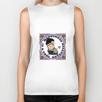 johnlock Biker Tanks featuring Happiness Is A Cool Detective by Marlowinc