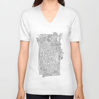 blueprint V-neck T-shirts featuring Home Blueprint by Max Bayarsky