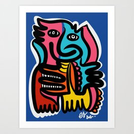 Blue Smiling Creature Graffiti Art Illustration  Art Print