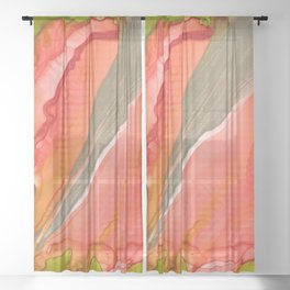 Piercing stem Sheer Curtain