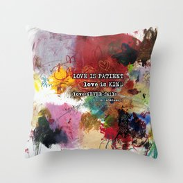 Love NEVER FAILS Scripture Bible Verse Abstract Art Painting by Michel Keck Throw Pillow