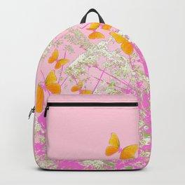 GOLDEN BUTTERFLIES IN PINK LACE GARDEN Backpack