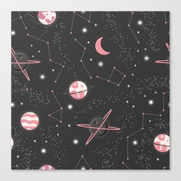 Universe with planets and stars seamless pattern, cosmos starry night sky 007 Canvas Print