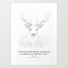 Psalm 42:1 Stag Art Print