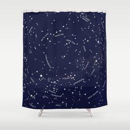 Constellation Map - Indigo Shower Curtain