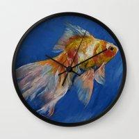 goldfish Wall Clocks featuring Goldfish by Michael Creese