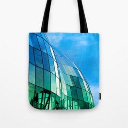 The Sage Gateshead reflecting the Quayside and Tyne Bridge in Newcastle upon Tyne Tote Bag