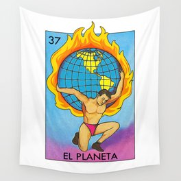 Loteria Mexican Bingo Planet Earth Wall Tapestry