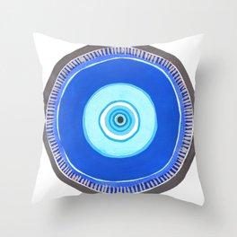 Blue and Silver Evil Eye Mandala Throw Pillow