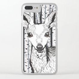 Ink and watercolor black and white doe/deer in the forest Clear iPhone Case