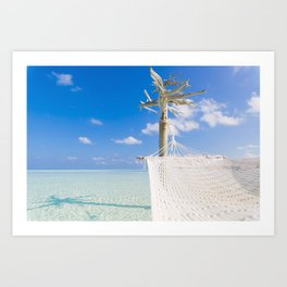 Hammock over the sea Art Print