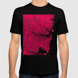 Sydney map raspberry T-shirt