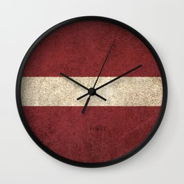 Old and Worn Distressed Vintage Flag of Latvia Wall Clock