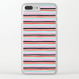 Abstract, Stripes, Red, Pink, Blue, Black, Pop art, Minimal, Pattern, Modern art Clear iPhone Case
