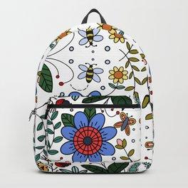 Folk Art Colorful Flowers  Backpack