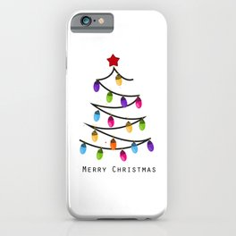 Made of colorful light bulb tree. Happy new year greeting card iPhone Case