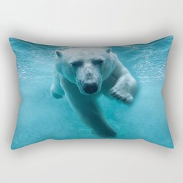 Polar Bear Swimming Rectangular Pillow