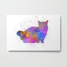Munchkin cat in watercolor Metal Print