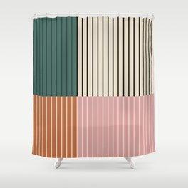 Color Block Lines V Shower Curtain