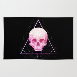 Skull in triangle on black Rug