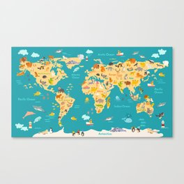 Animal map for kid. World vector poster for children, cute illustrated Canvas Print