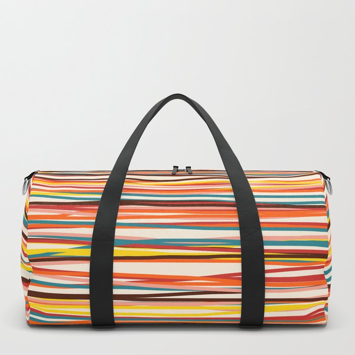 Bright Colorful Lines - Classic Abstract Minimal Retro Summer Style Stripes Duffle Bag
