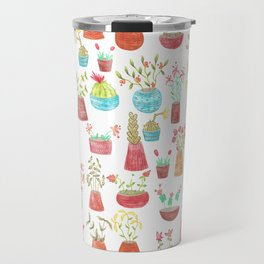 watercolor potted flowers and cacti Travel Mug