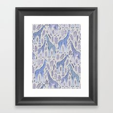 Blue Giraffe Pattern Framed Art Print