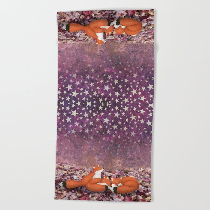 foxes under the stars Beach Towel