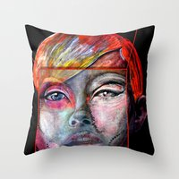 mirror Throw Pillows featuring mirror by Irmak Akcadogan