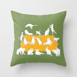 Cute white cats on the couch | Green Throw Pillow