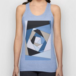Abstract Blues Geometric Layers Unisex Tank Top