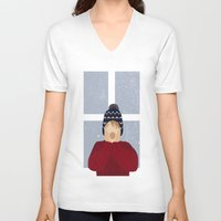 home alone V-neck T-shirts featuring Home Alone by Robert Scheribel