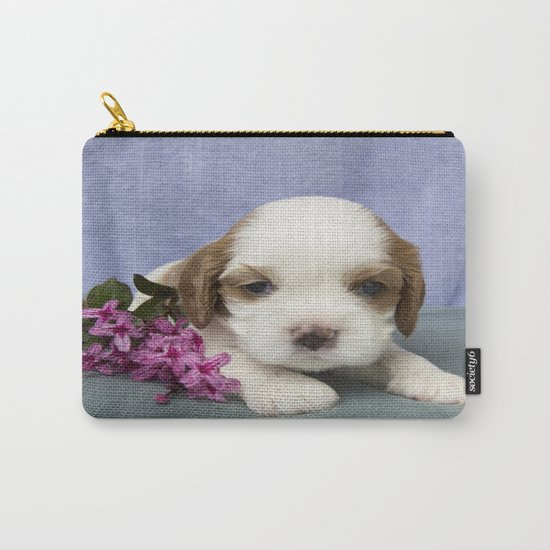 Puppy with flowers Carry-All Pouch
