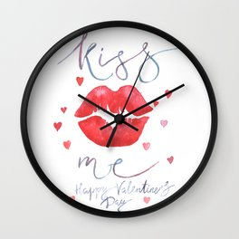 Valentine's day lettering art Wall Clock