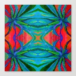 WESTERN MODERN ART OF BLUE AGAVES RED-TEAL Canvas Print