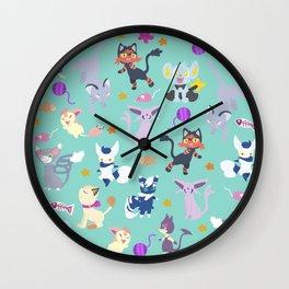 Cats - Mint Wall Clock