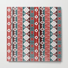 Colorful Aztec pattern with red. Metal Print