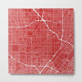 Santa Ana Map, USA - Red Metal Print